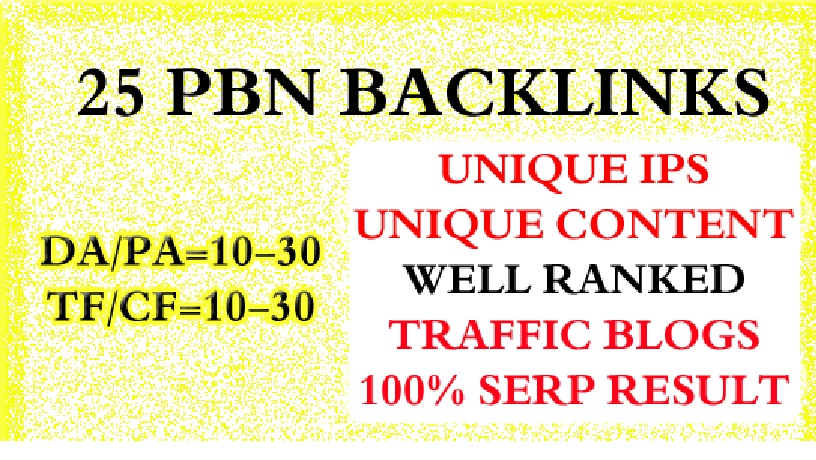 I Will Do 25 Homepage Pbn Backlinks High Tf Cf Da Pa Private Blog Network