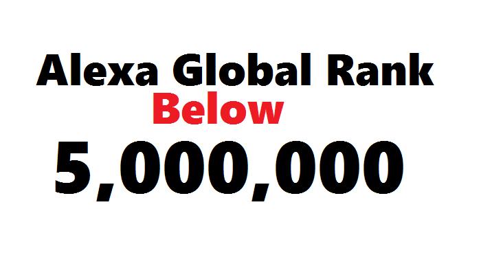 Seo TRAFFIC to Improve ALEXA GLOBAL Rank Below 5,000,000