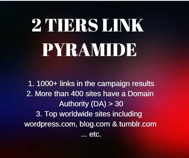 Get a Premium 2 Tiers Link Pyramid All In One Campaign With Various Types Of Backlinks