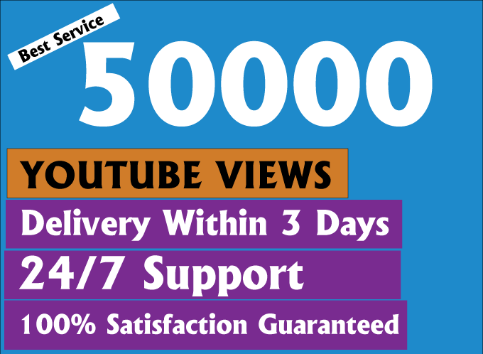 Give you Real High Retention 50000+ youtube views with bonus likes and comments