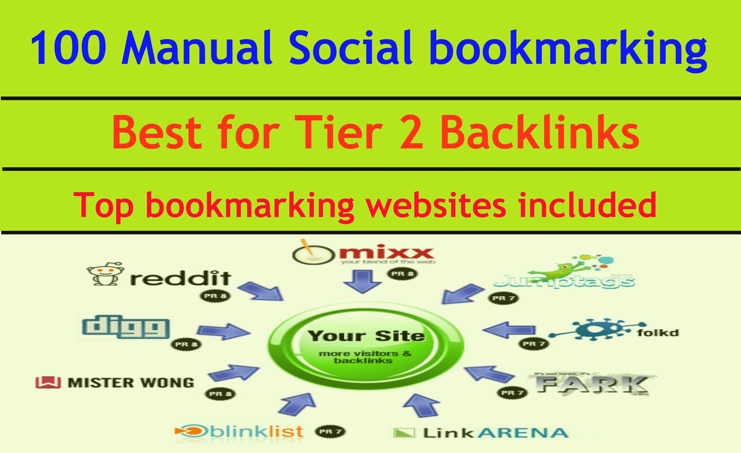 100 manual social bookmarking service - best for your tier2 backlinks