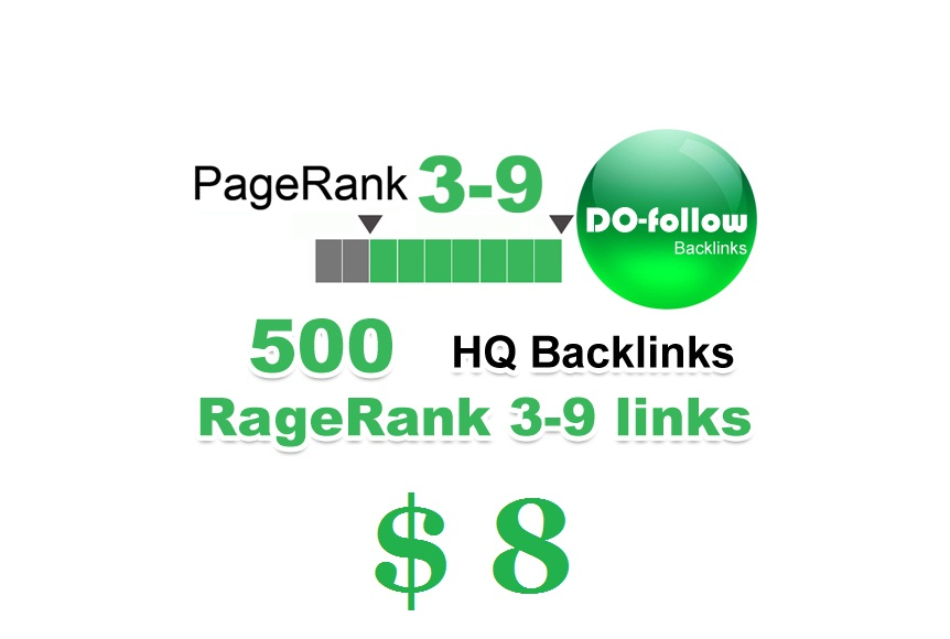 500 Plus High Google Page rank only PR 3-9