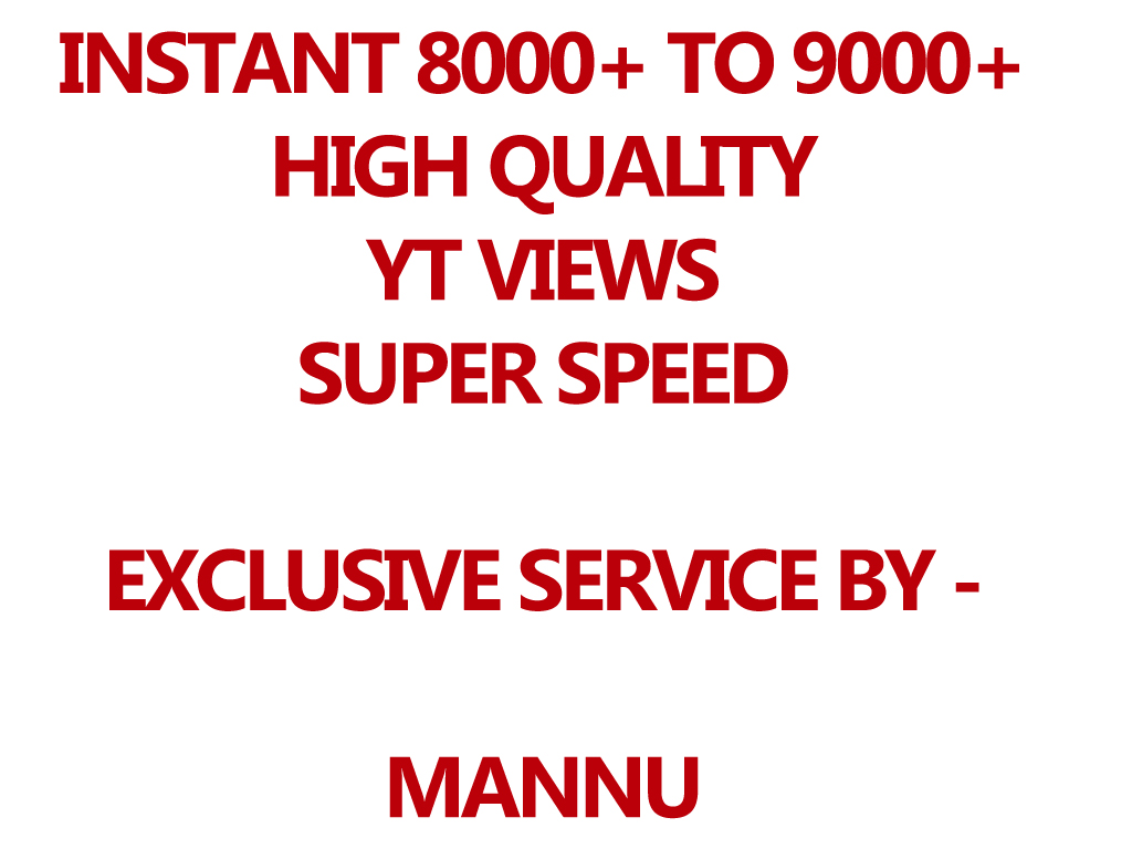 INSTANT 25000+ You'Tube HR And DESKTOP Views - Full High Quality