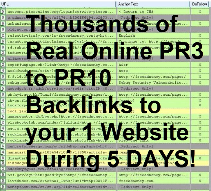 I will create thousands of Real Online PR3 to PR10 Backlinks to your (1) Website