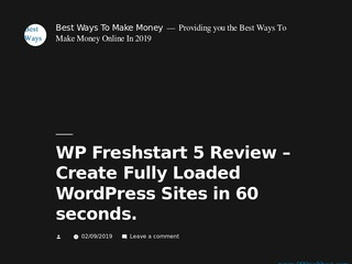WP Freshstart 5 Review &ndash Create Fully Loaded Wor... Sponsored Blog Review
