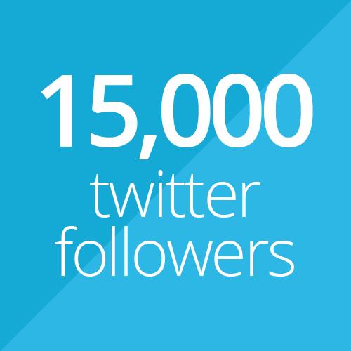 15,000 Twitter followers