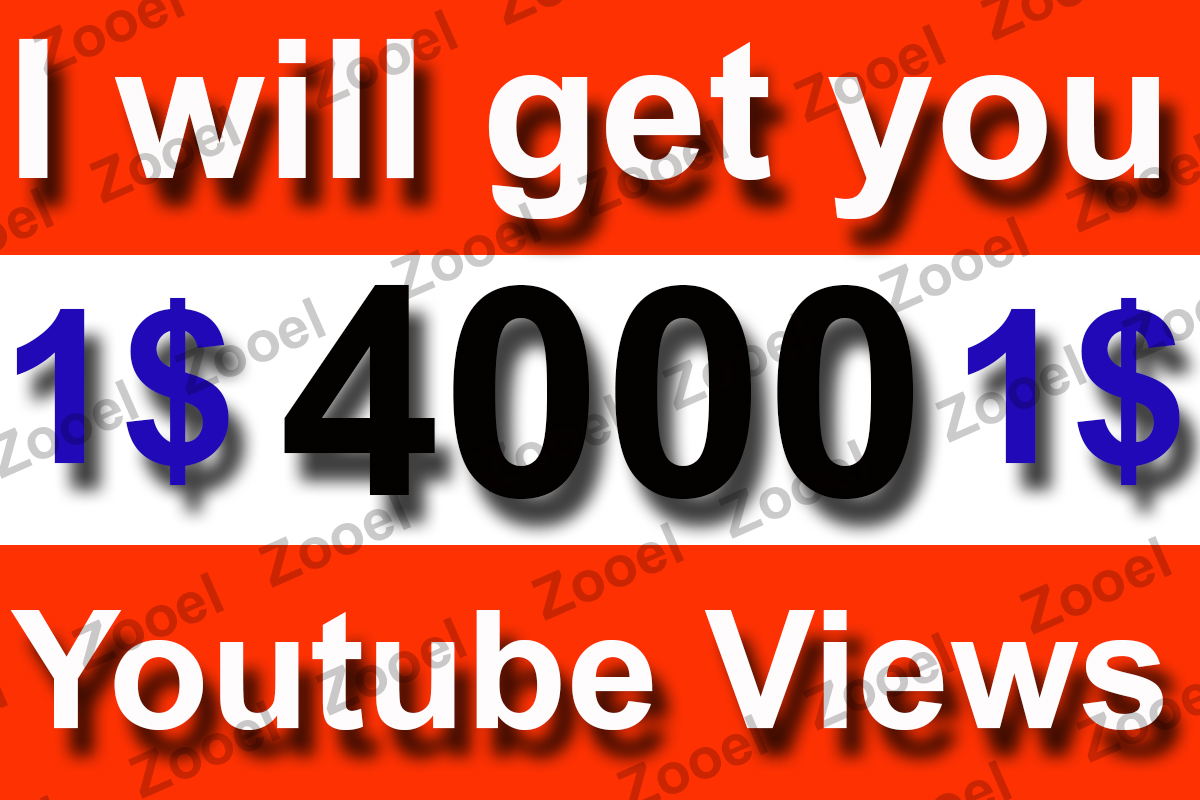 4,000 High rention You Tube Views + 10 Likes  Fast Delivery