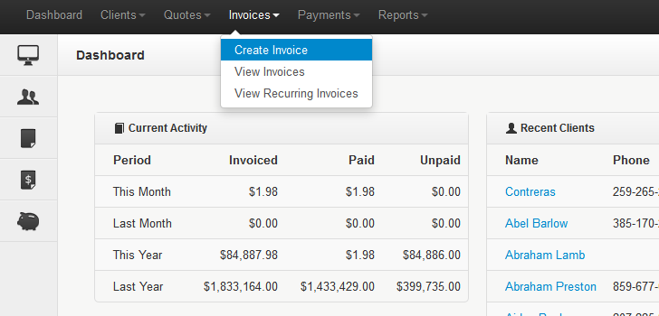 Invoice Management System,  Create & sent invoice,  Clients Billing Management