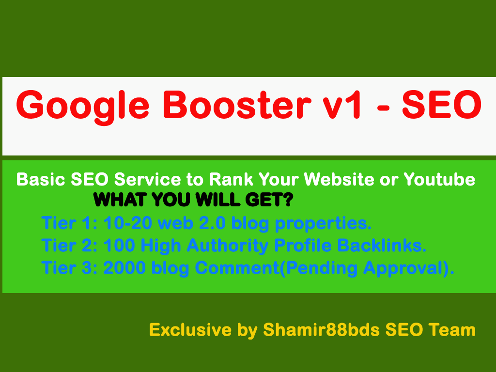 Google Booster v1 - Basic SEO Service to Rank Your Website or Youtube