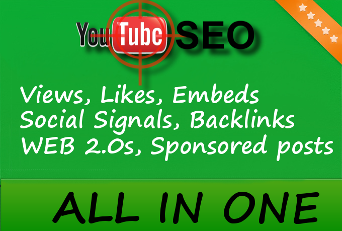 YouTube SEO Bomb - Views, Likes, Backlinks, Social Si... for $5