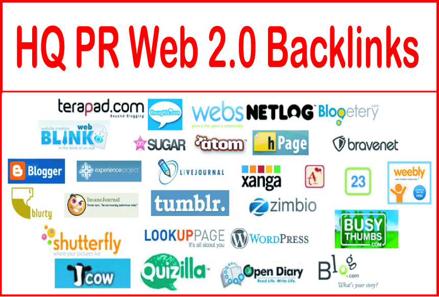 Get you 20 high PR web 2.0 Backlinks