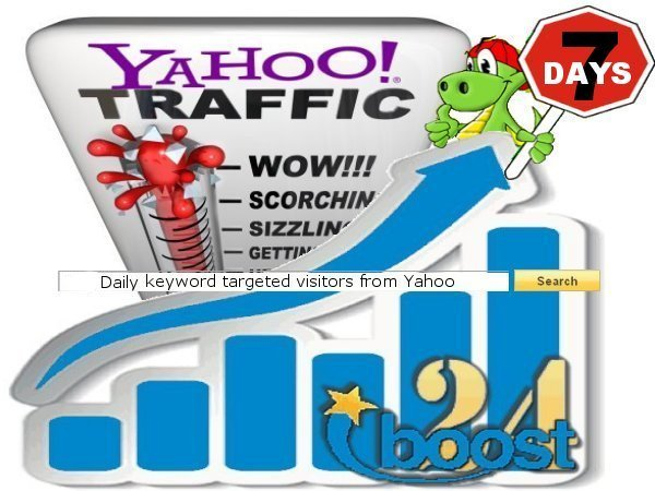Daily keyword targeted visitors from Yahoo for 7 days