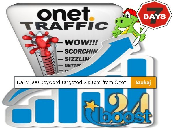 Daily keyword targeted visitors from Onet for 7 days
