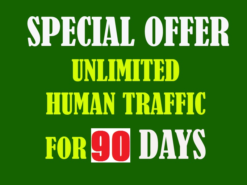 Get Unlimited Human Traffic to your website for 90 days