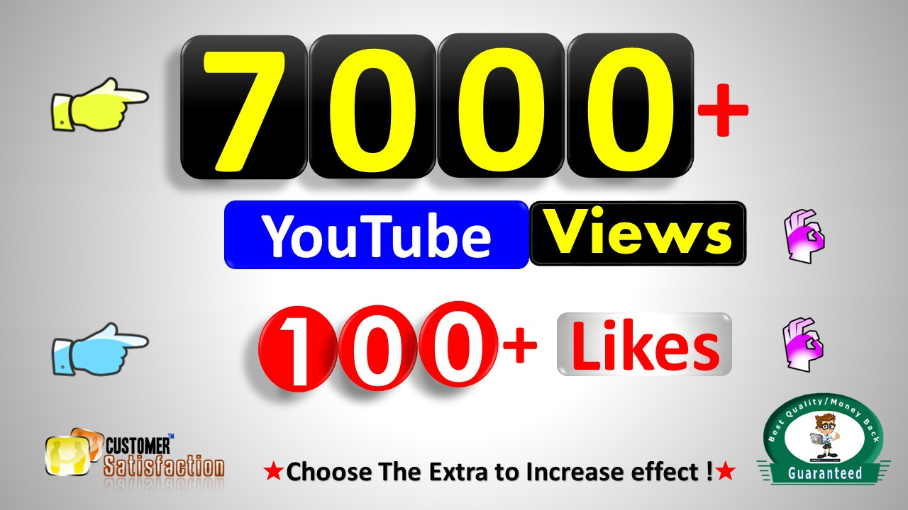 Instant Start 7,000+ Video Views & 100+ Video Likes, HQ Video Quality Non Drop Guaranteed / Refill if Drop Lifetime