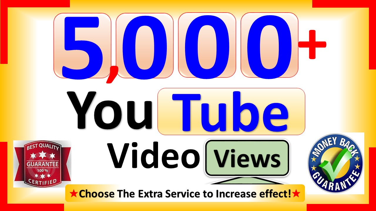 Get 5000+ YouTube-Video Views, Real Active, Permanent & Good Retention