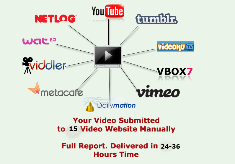 submit manually your video to 15 popular video submission site and get live link with huge traffic