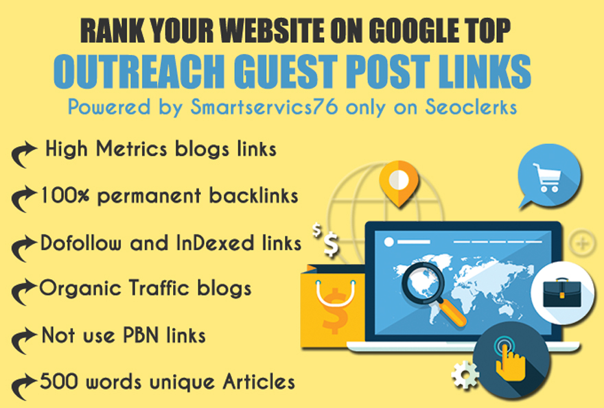 I will publish 10 Guest posts with permanent contextual backlinks on High Metrics unique blogs