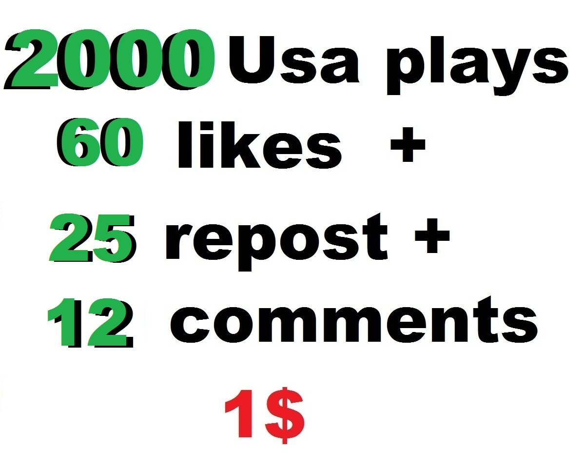 2000 high retention usa  plays 60 likes 12 comments 25 repost