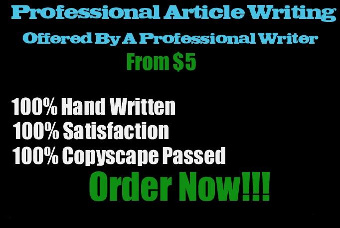 I will professionally Write A 600 Word Unique SEO Article