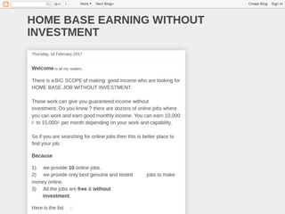 HOME BASE BUKS WITHOUT INVESTMENT Sponsored Blog Review