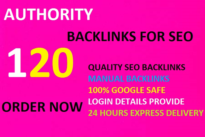 I Will Create 120 High Da Authority Backlinks,For SEO