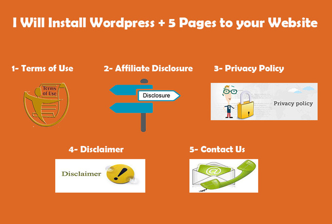 install WP on your Domain and Write 5 Legal pages