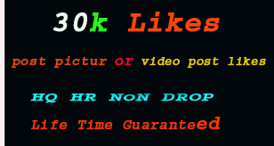 I will give you real 30k+ social media post video likes or pictures