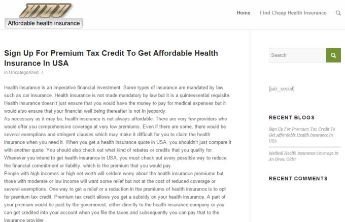Post on Health Insurance Blog