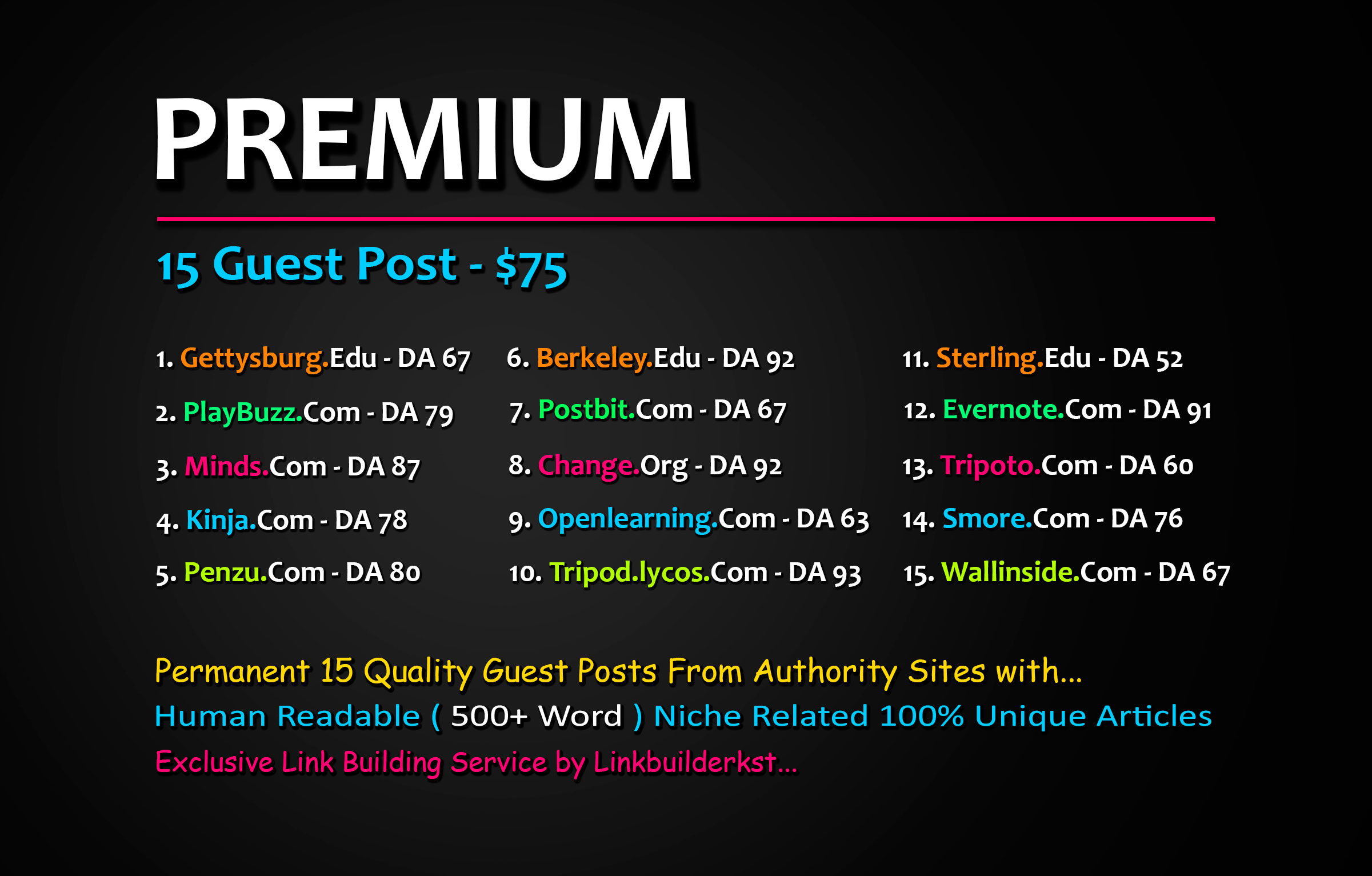Publish 5X High Quality Guest Posts On DA 60+ to 100 Platforms
