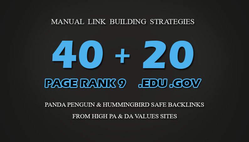 40 PR9 + 20 EDU GOV Backlinks From Authority Domains