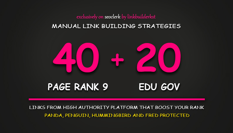 40 PR9 + 20 EDU GOV Backlinks From Highest Authority Domains