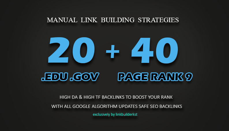 40 PR9 + 20 EDU GOV Backlinks From High Authority Domains