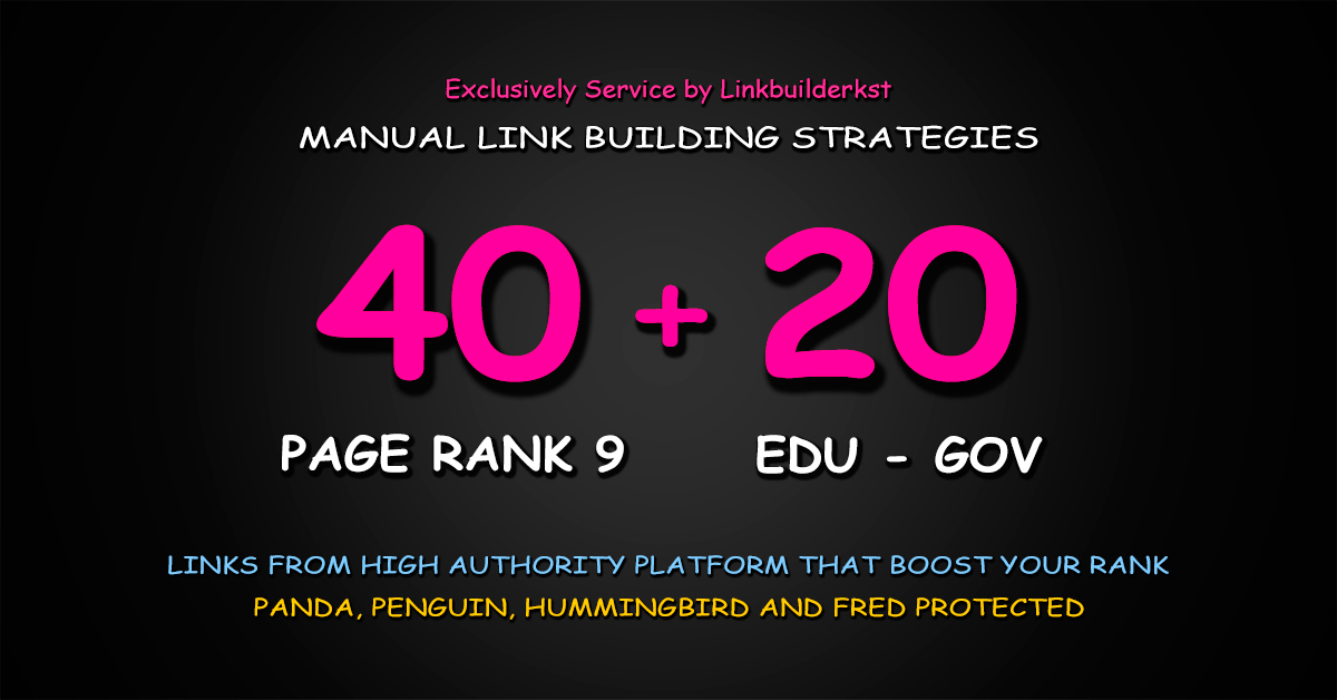 40 Pr9 + 20 Edu Gov High Trust Authority Safe SEO Bac...