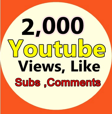 2,000  Youtube Views+ 20 Like +5 Subscriber +3 Comments Limited Time Offer