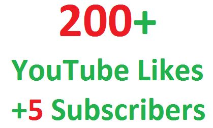 I will give you real 200+ youtube video likes + 5 Subscribers + 50 Views in your video