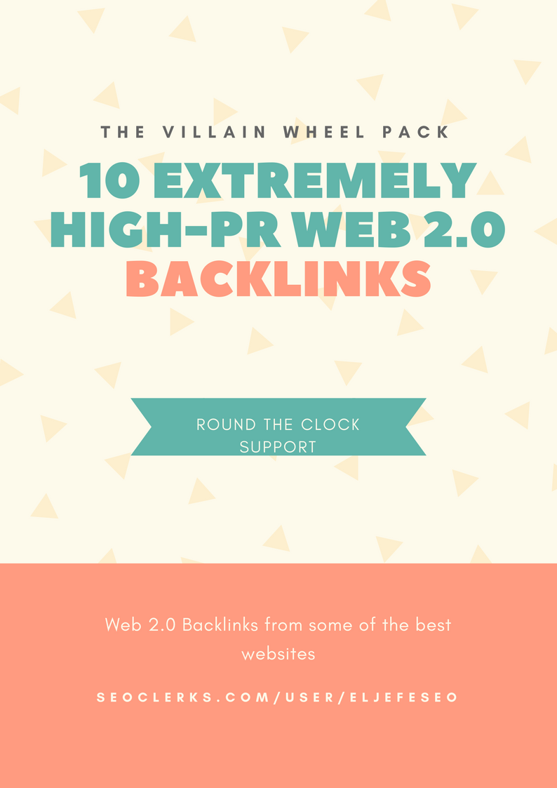 Get 10 High PR Web 2.0 Backlinks - The Villain Wheel Pack