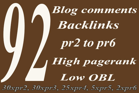 92 SEO blog comments backlinks pr2 to pr6