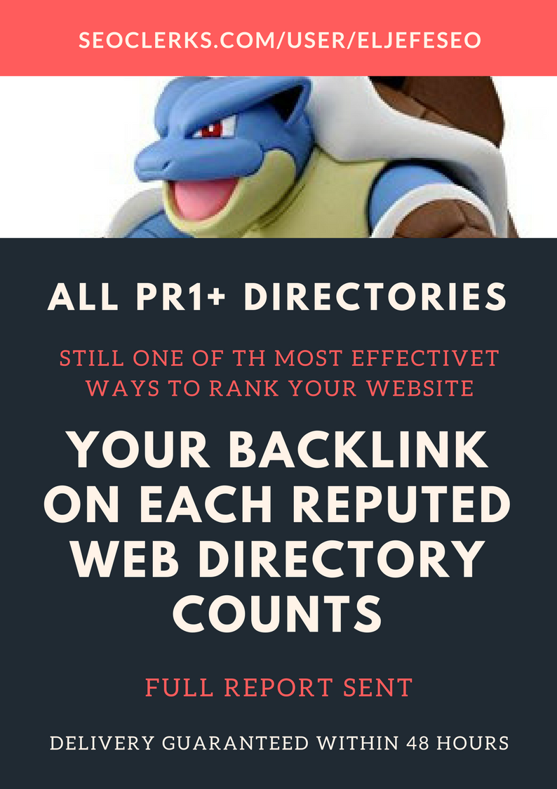 The Mega Blastoise Pack - Manual Submission to 20 PR1+ Web Directories - Complete Report Sent
