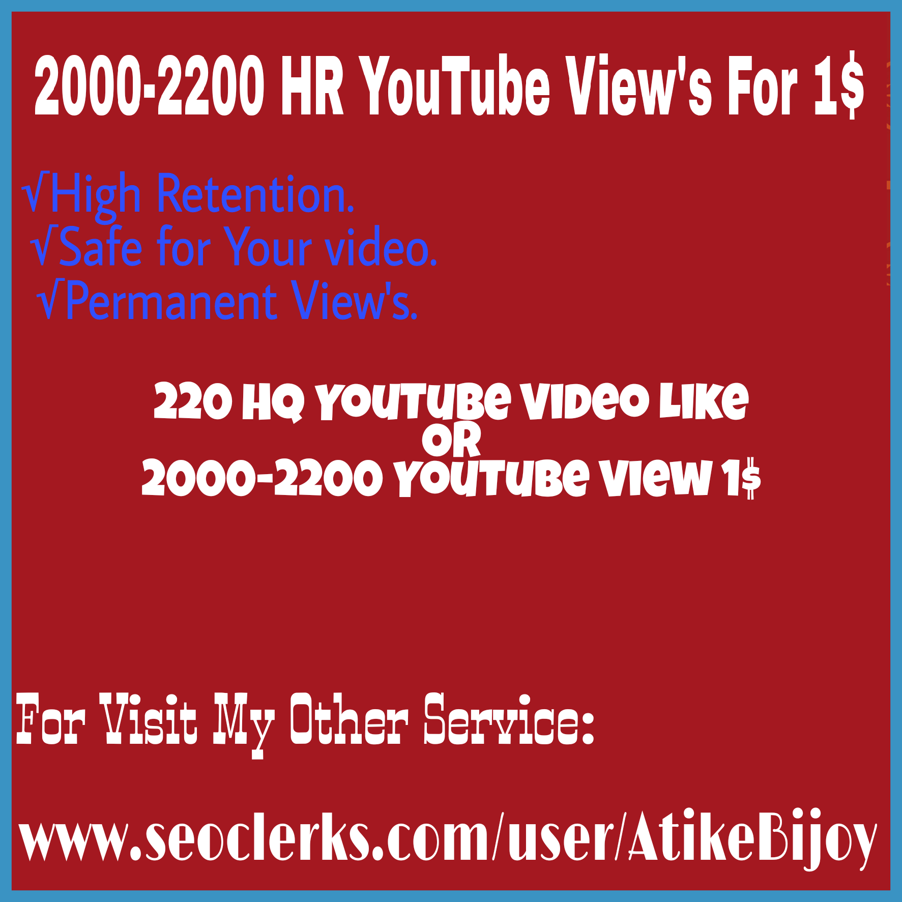 Instant Start Up To 1000 YouTube V-iew's +100 Video L-ike&10 channel sub-scribers