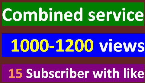Instantly start 1000-1200 guaranteed V iews + Bonus 15 Sub criber with 15 L ike