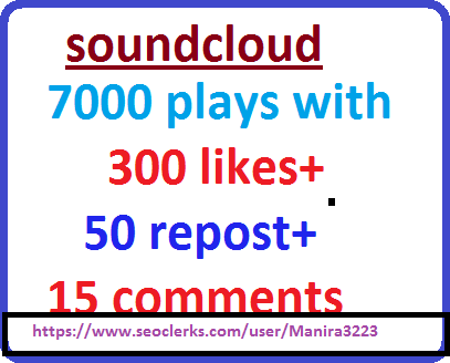7000 SOUNDCLOUD plays with 300 likes + 15 comments +50 repost