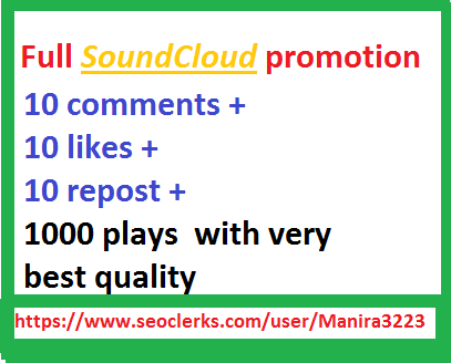 Soundcloud  promotion 1000+plays with 10 likes+repost+comments very fast