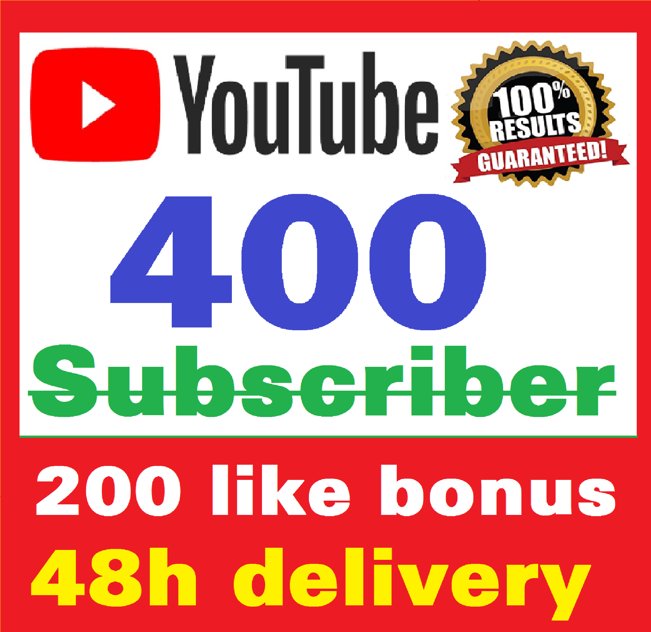 Add 400+ Real Youtube Subscriber & 200+ Likes YT Safe and Non Drop