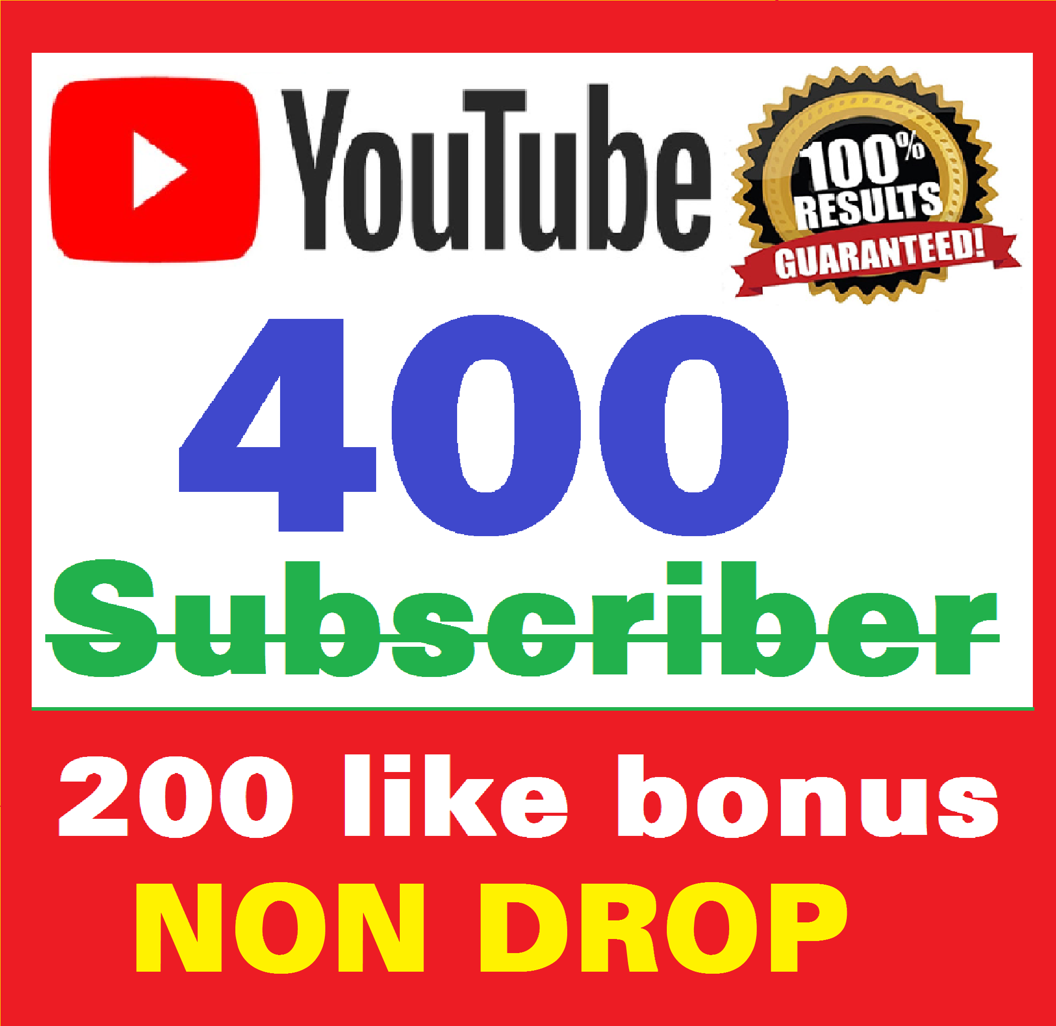 Add 400+ Real Youtube Subscribers & 200+ Likes YT Safe and Non Drop, Instant Start , top Youtube Views