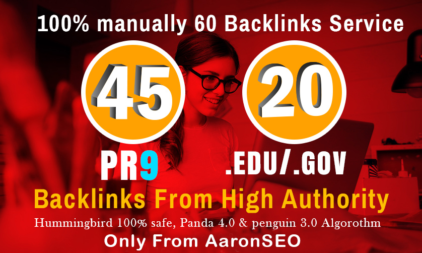 I will manually do 40 PR9 + 20 EDU/GOV Safe SEO High ...
