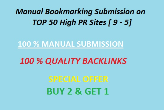 I will manually create TOP 50 pr9 to pr4 social bookmarking backlinks