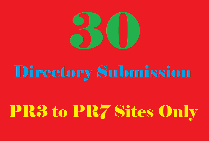 Provide Manual directory submission to 30 PR3 to PR7 sites