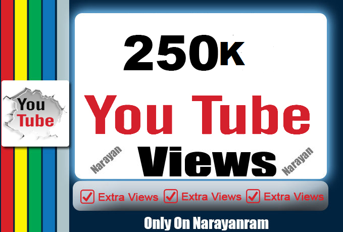 250000 (250k) Youtube views High Retention
