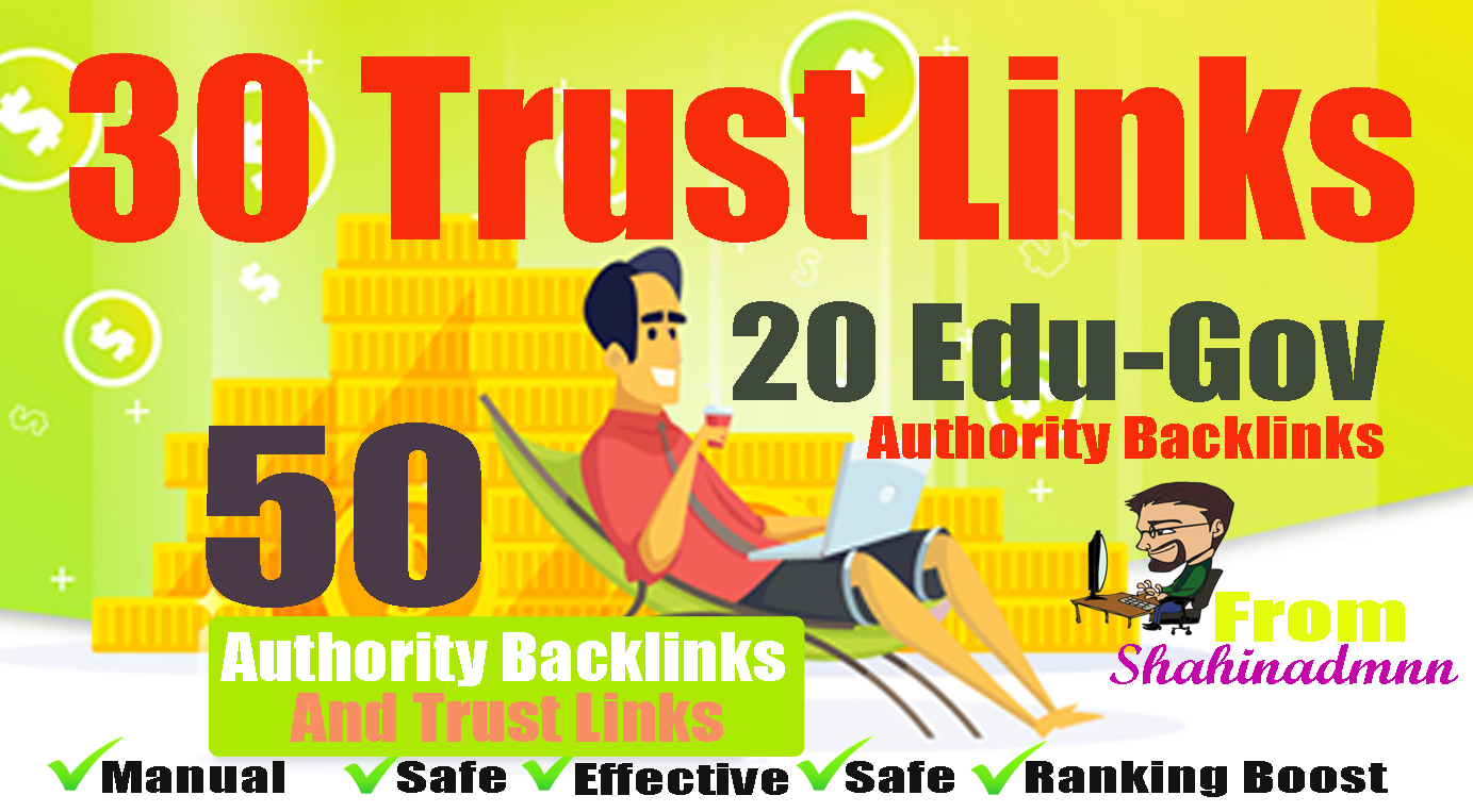 I will manually do 30 PR9-7+ 20 EDU-GOV Backlinks From Authority Domains